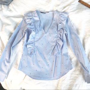Zara ruffles blouse with umbrella print